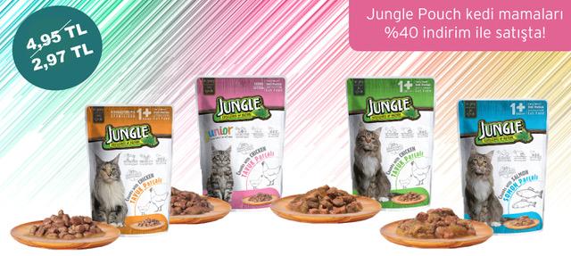 Jungle Pouch Kedi Mamaları 40 İndirimli