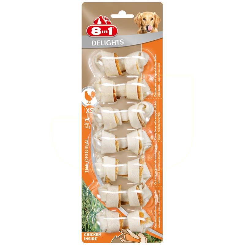 8in1 Delights Bones Düğümlü Tavuklu Köpek Kemiği 84 gr 7 Adet   28,80 TL