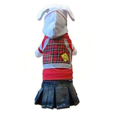 DoggyDolly Red Fleece With Skirt Kapşonlu Polar Köpek Elbisesi (M) | 33,75 TL