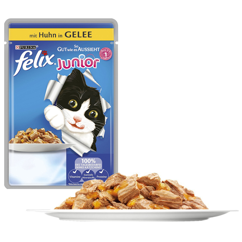 Felix Junior Tavuk Etli Pouch Konserve Yavru Kedi Maması 100 gr   4,21 TL