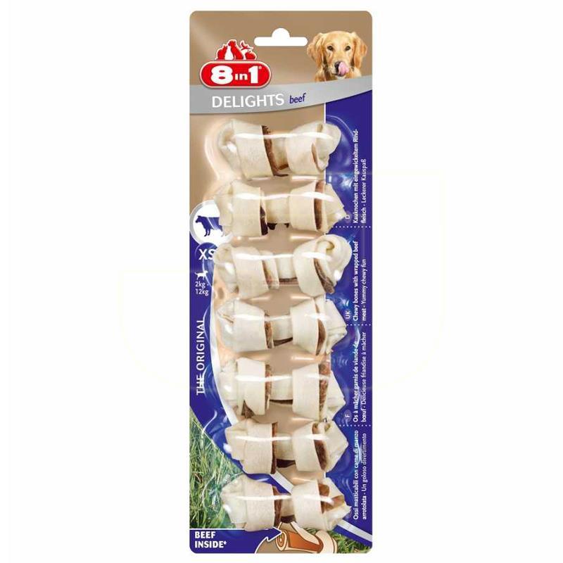 8in1 Delights Bones Biftekli Düğümlü Köpek Kemiği 84 gr 7 Adet | 31,50 TL