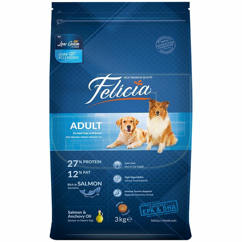 Felicia Somon Balıklı Düşük Tahıllı Yetişkin Köpek Maması 3 Kg