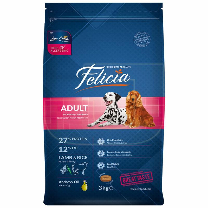 Felicia Kuzulu Ve Pirinçli Düşük Tahıllı Yetişkin Köpek Maması 3 Kg | 90,25 TL