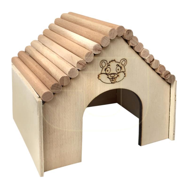 Beaks Kemirgenler İçin Üçgen Çatılı Ahşap Küçük Kemirgen Evi 13 cm | 20,02 TL