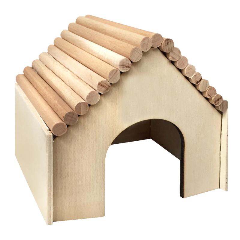 Beaks Kemirgenler İçin Üçgen Çatılı Ahşap Küçük Kemirgen Evi 13 cm | 25,02 TL