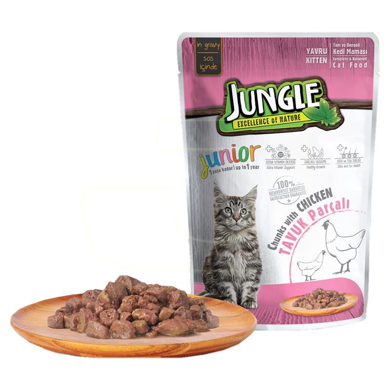 Jungle Pouch Soslu Tavuk Etli Yavru Kedi Maması 100 gr | 4,37 TL