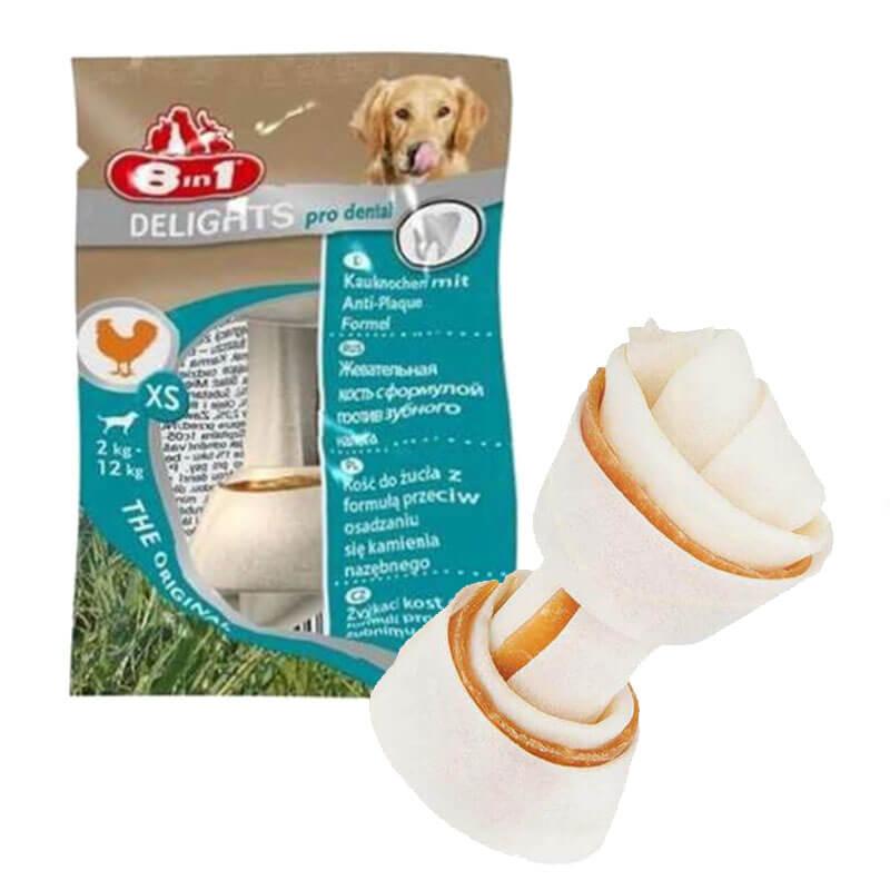 8in1 Delights Dental Köpek Kemiği Düğümlü Tavuk Etli XS 12 gr