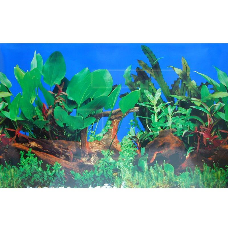 Ti-Sert Akvaryum Posteri Ağaç Kütüğü Ve Yeşil Bitkili 50x100 cm | 6,30 TL